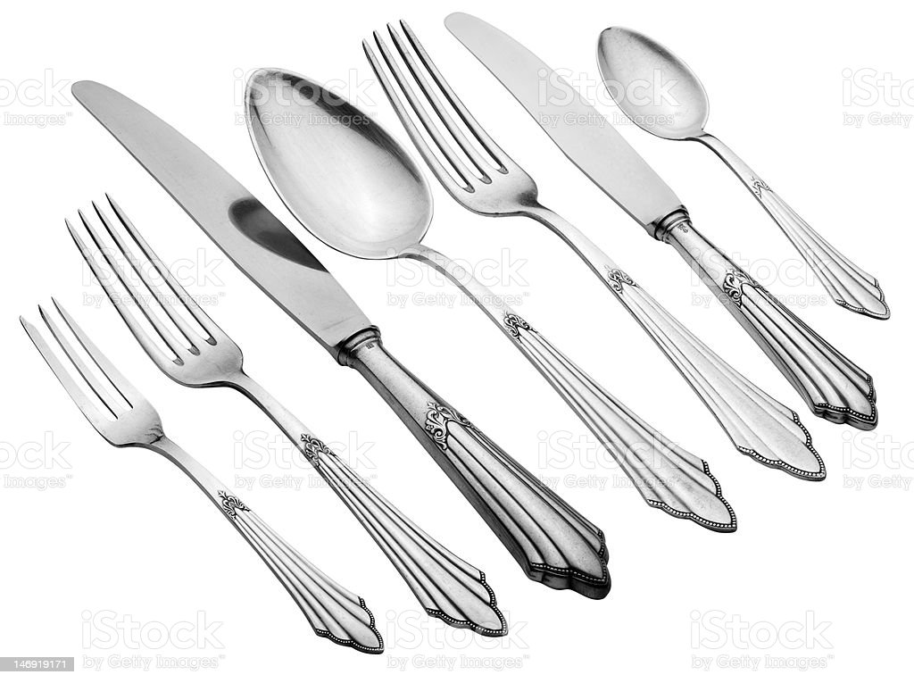 Old Silverware Set (Clipping Path) royalty-free stock photo