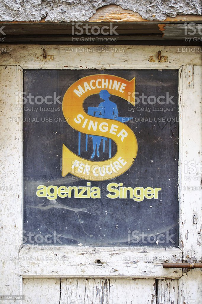 Old Singer Commercial Sign stock photo