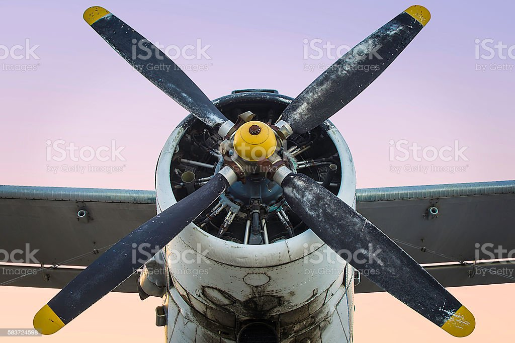 Old single engine propeller airplane stock photo