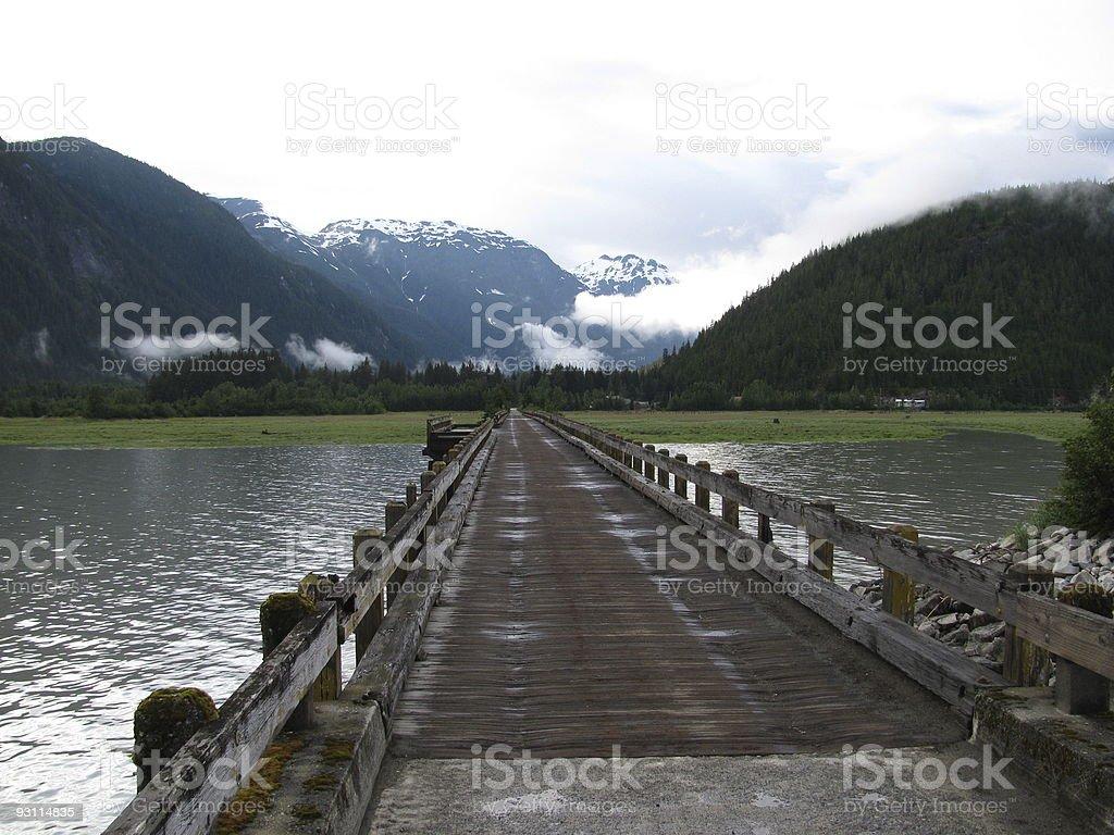 Old Single Lane Wooden Bridge in Alaska stock photo