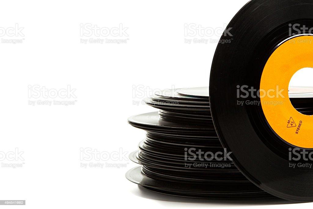 Old single vinyl records stack stock photo