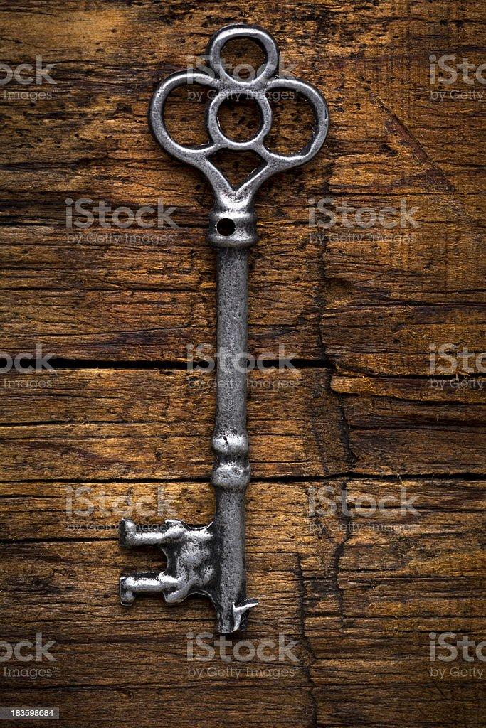 Old Skeleton Key on Wood stock photo