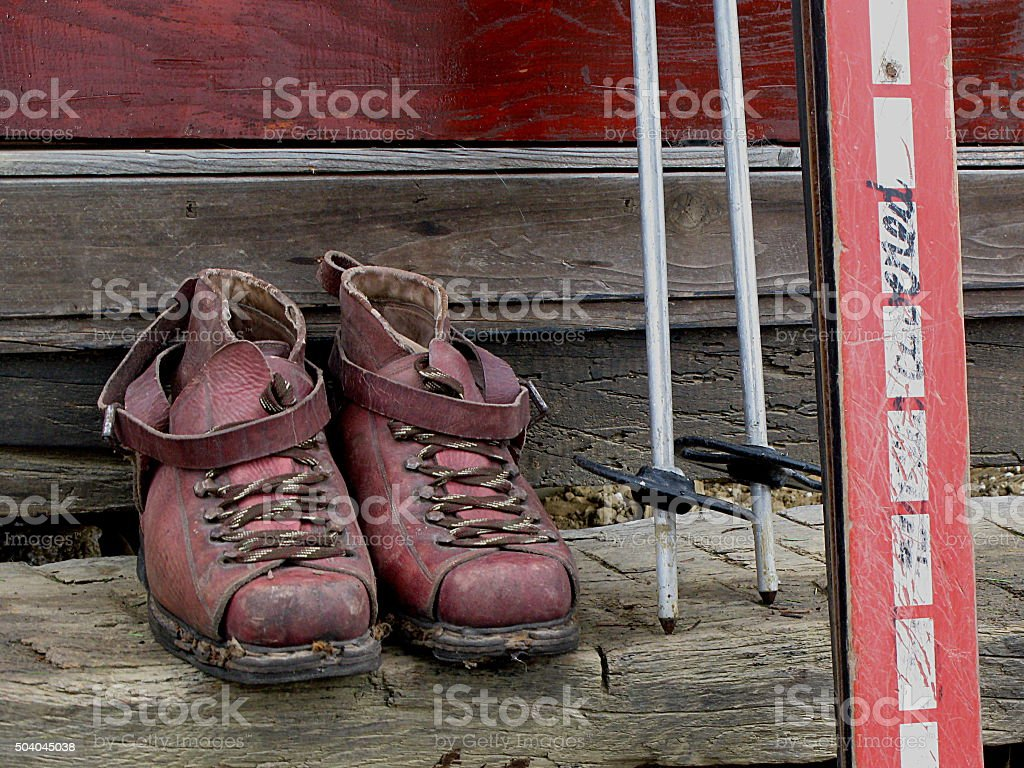 Old Ski Boots stock photo