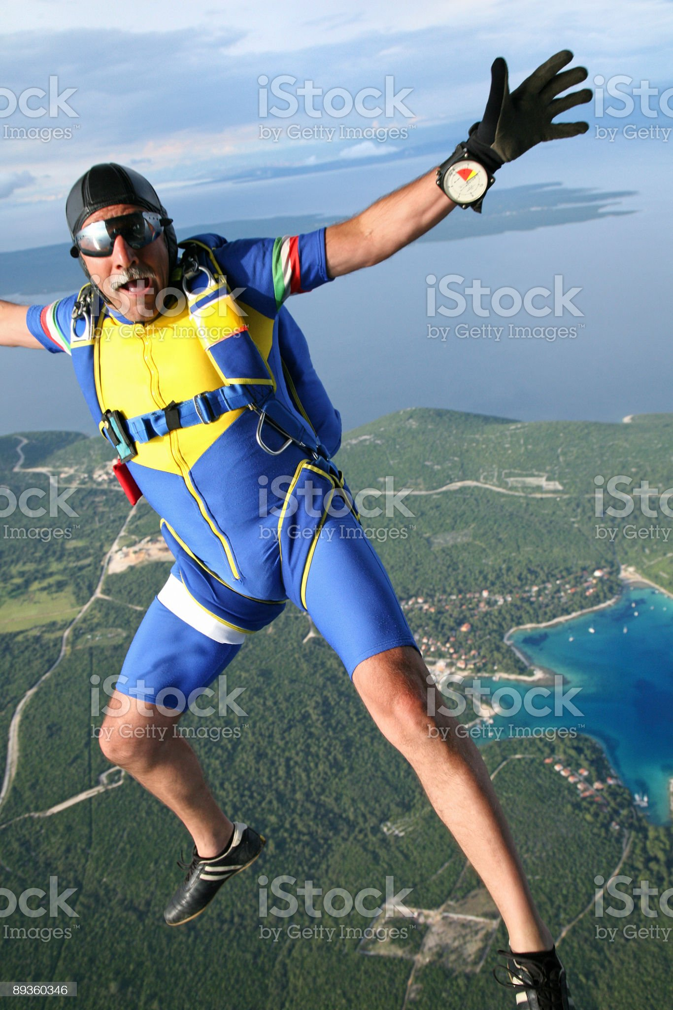 Old skydiver in action royalty-free stock photo