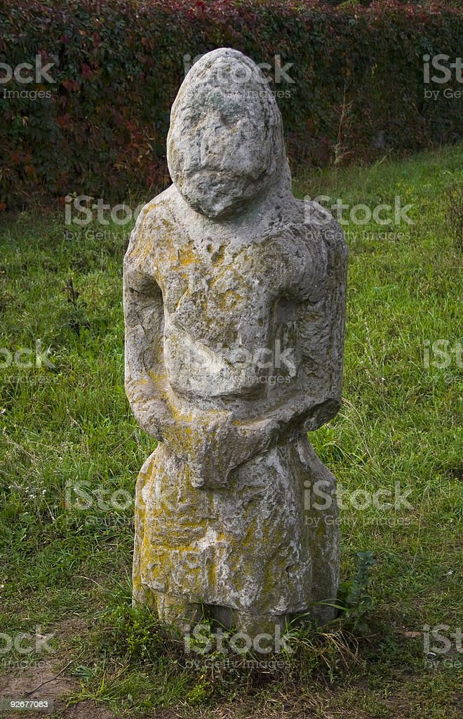 old Slavic pagan stone statue royalty-free stock photo