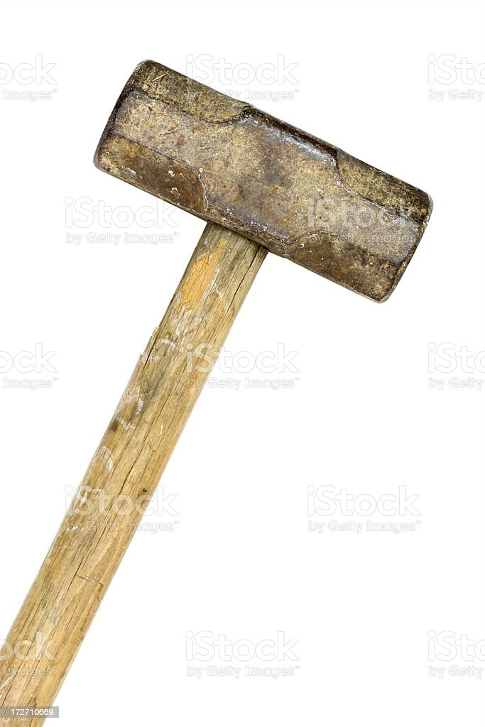 Old Sledge Hammer Isolated with Clipping Path stock photo