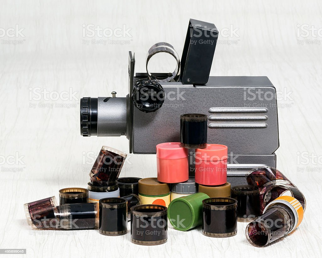 Old slide projector. film stock photo