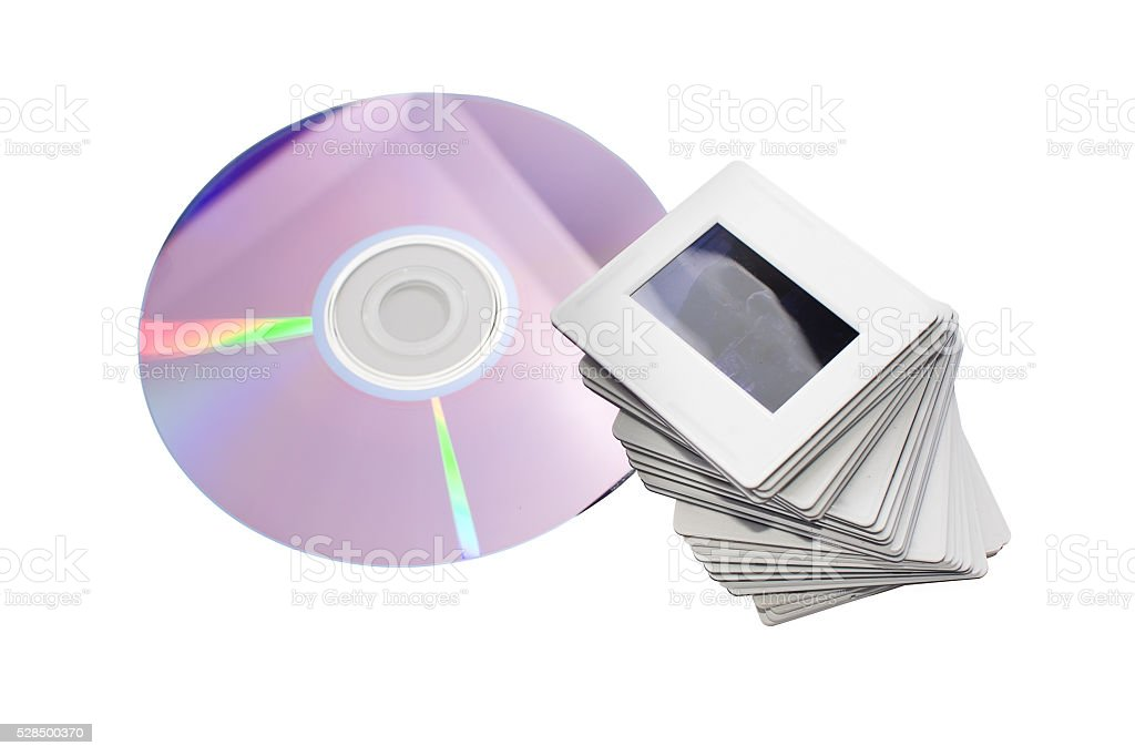 old slides and new dvd: two image archiving systems stock photo