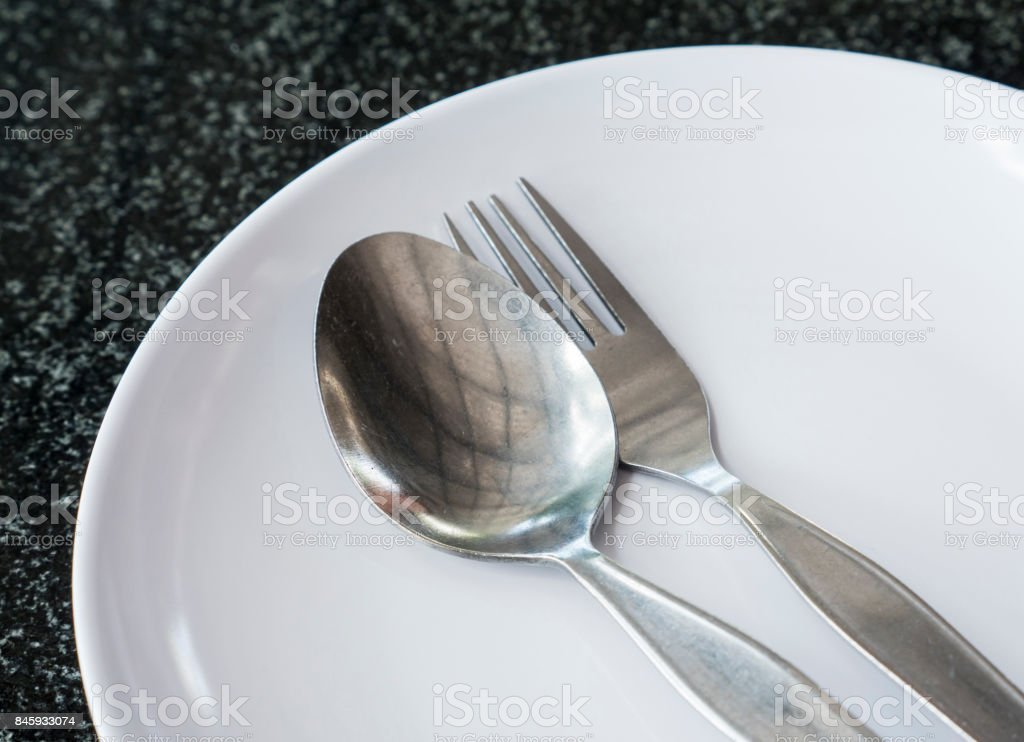 Old sliver spoon and fork. stock photo