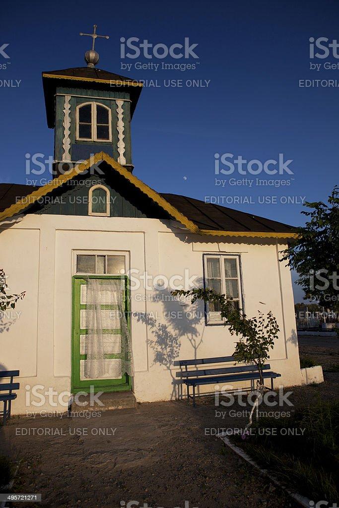 Old small chapel, Danube Delta stock photo