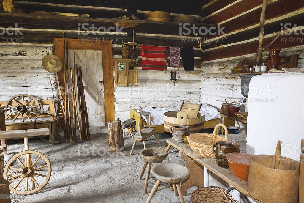 Old small interior home stock photo
