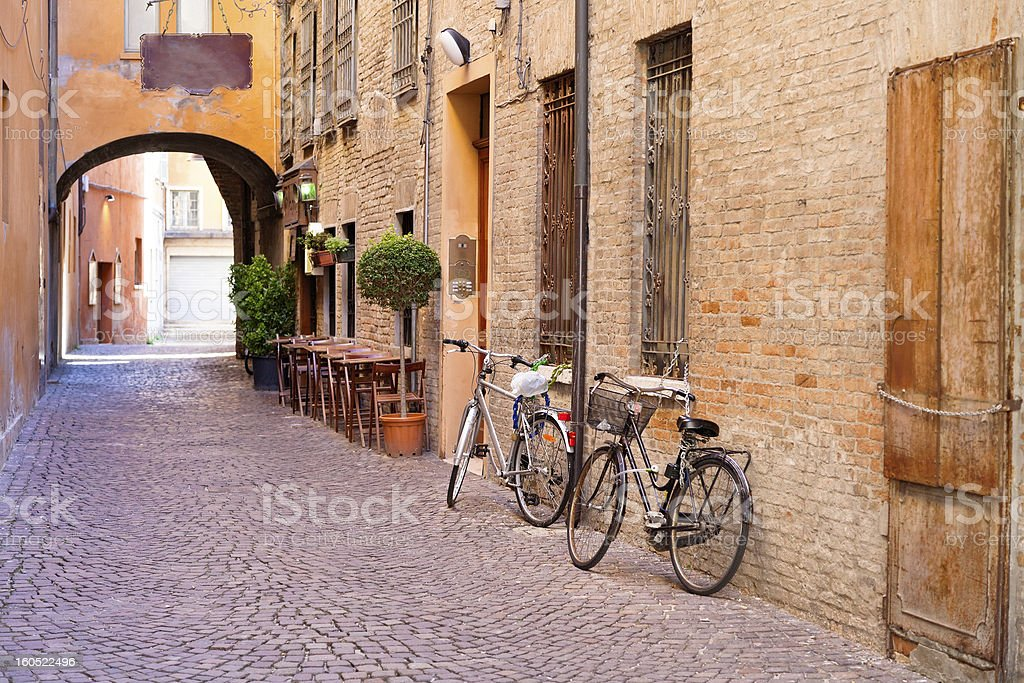old small stone medieval street in historical center stock photo