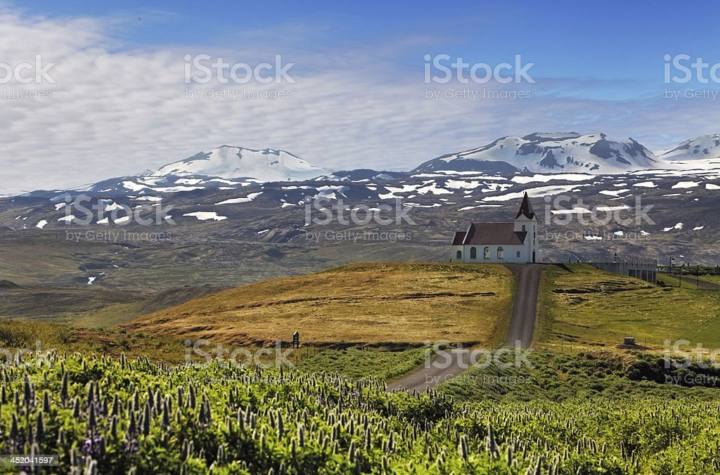 Old small wooden church in Hellnar Iceland stock photo