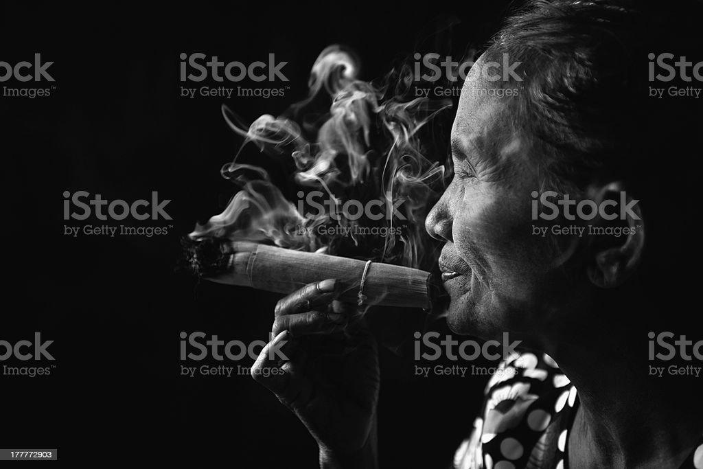 Old smoker royalty-free stock photo