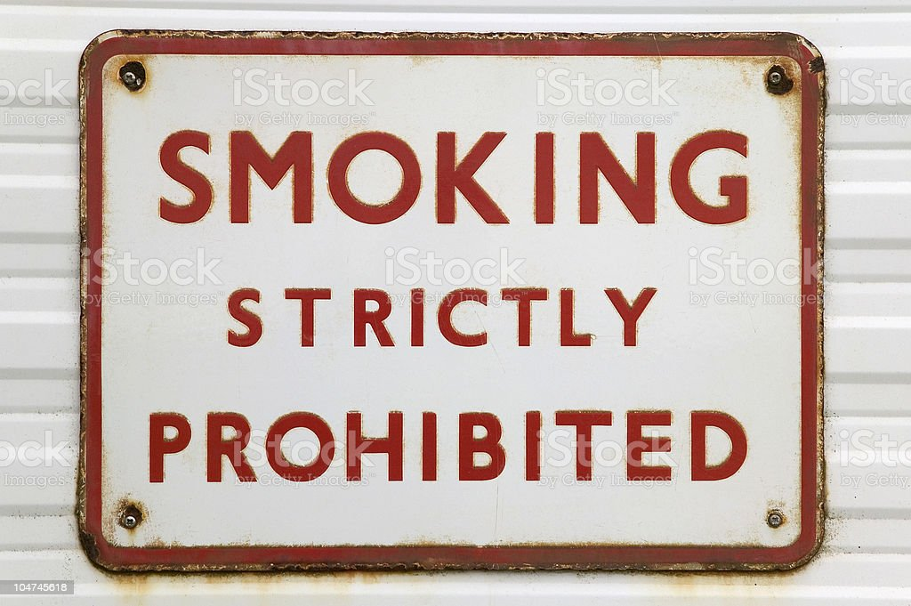 Old 'Smoking' sign stock photo