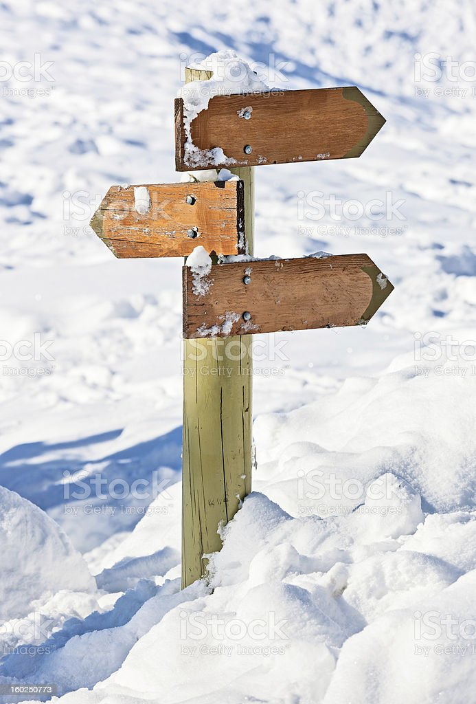 Old snow covered wooden signpost (index arrowhead) royalty-free stock photo