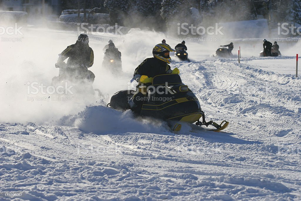 Old Snowmobile Race stock photo