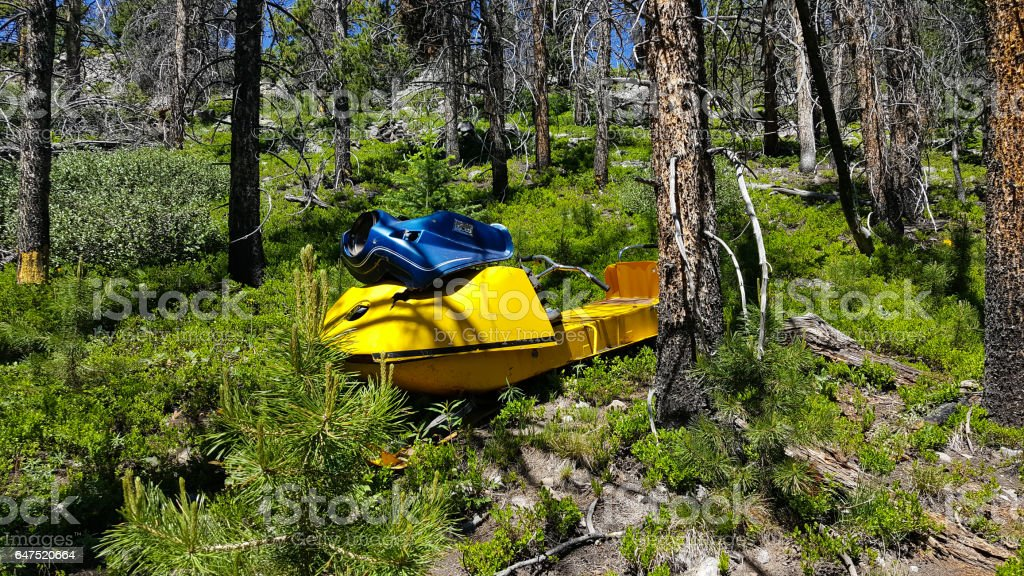 Old snowmobile stuck in the forest stock photo