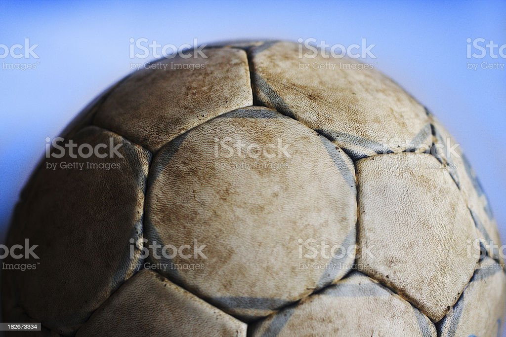 Old soccer ball III stock photo