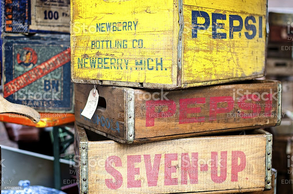Old Soft Drink Crates stock photo