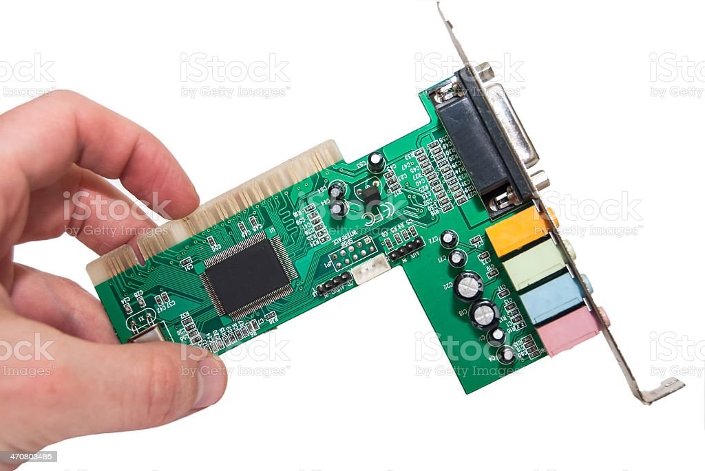 old sound card for computer with clipping path stock photo