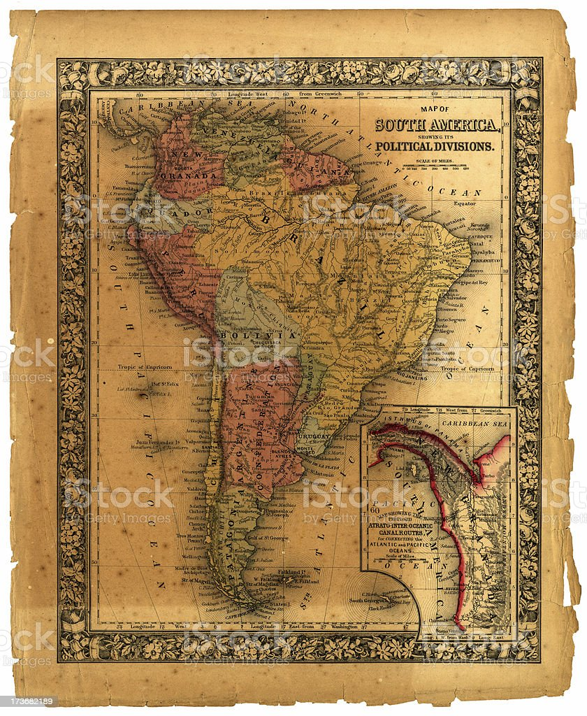 old south america political map royalty-free stock photo