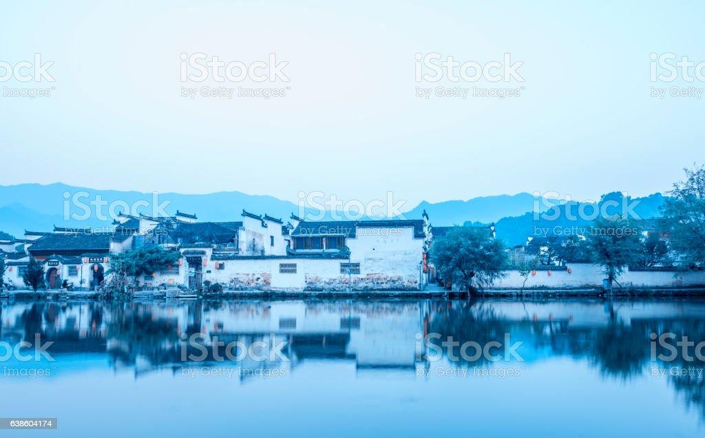 old southern China village, Hongcun village, Huangshan, Anhui stock photo