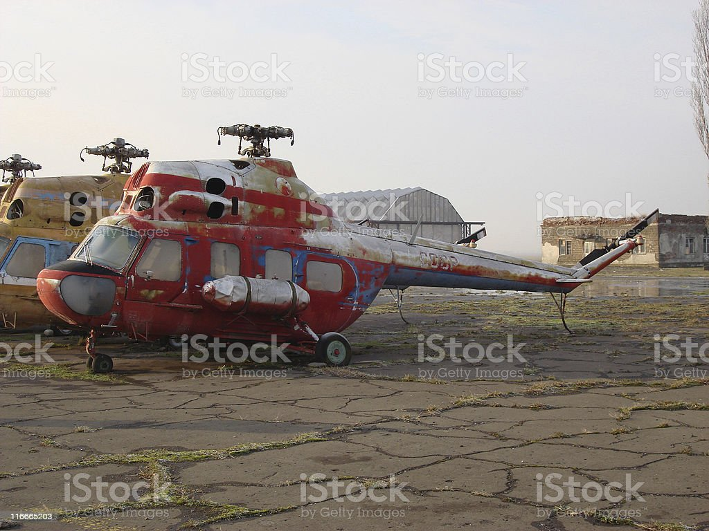 Old Soviet helicopters stock photo