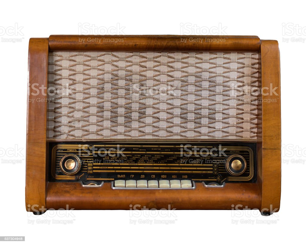 Old soviet radio isolated on white. stock photo