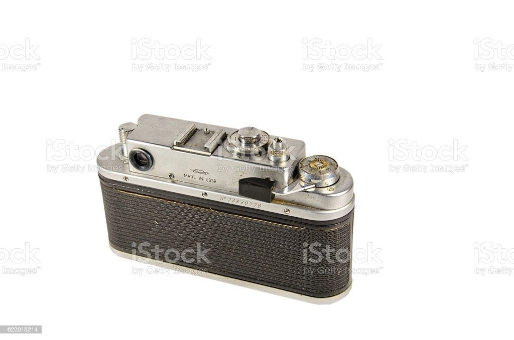 Old soviet rangefinder camera isolated on white background stock photo