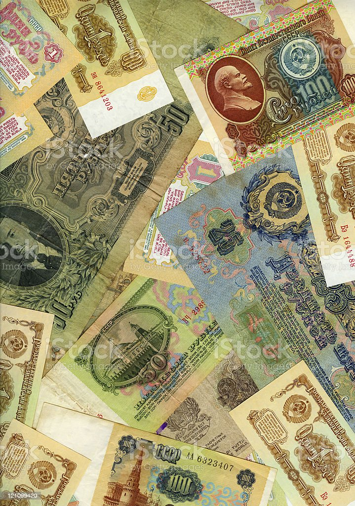 Old soviet russian money background royalty-free stock photo