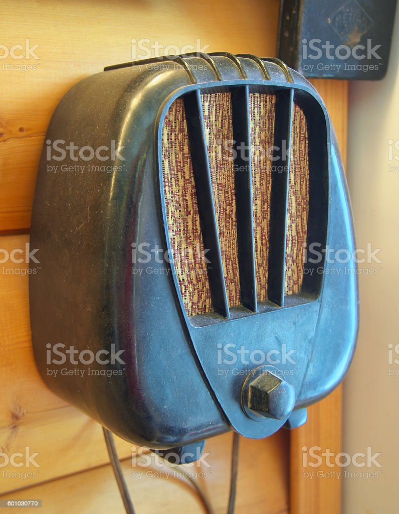Old soviet speaker - a radio production in 1930 stock photo