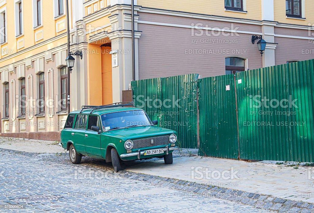 Old soviet-made car parked in historic district. Kiev, Ukraine stock photo
