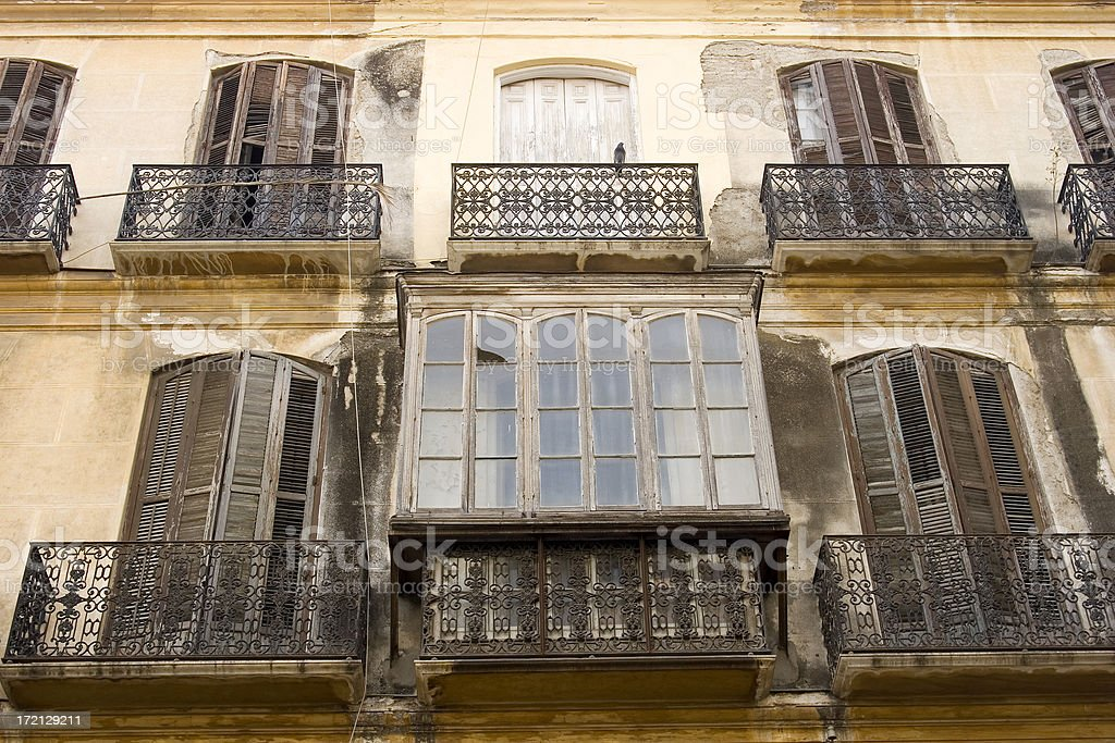 Old Spanish balconies, Malaga, Spain stock photo