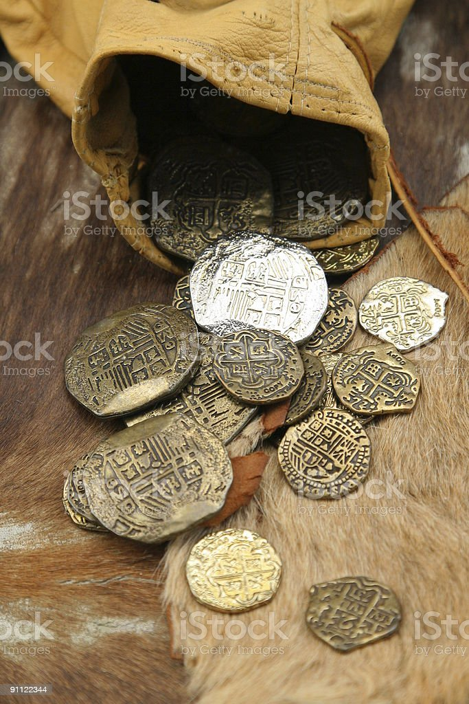 old spanish coins stock photo