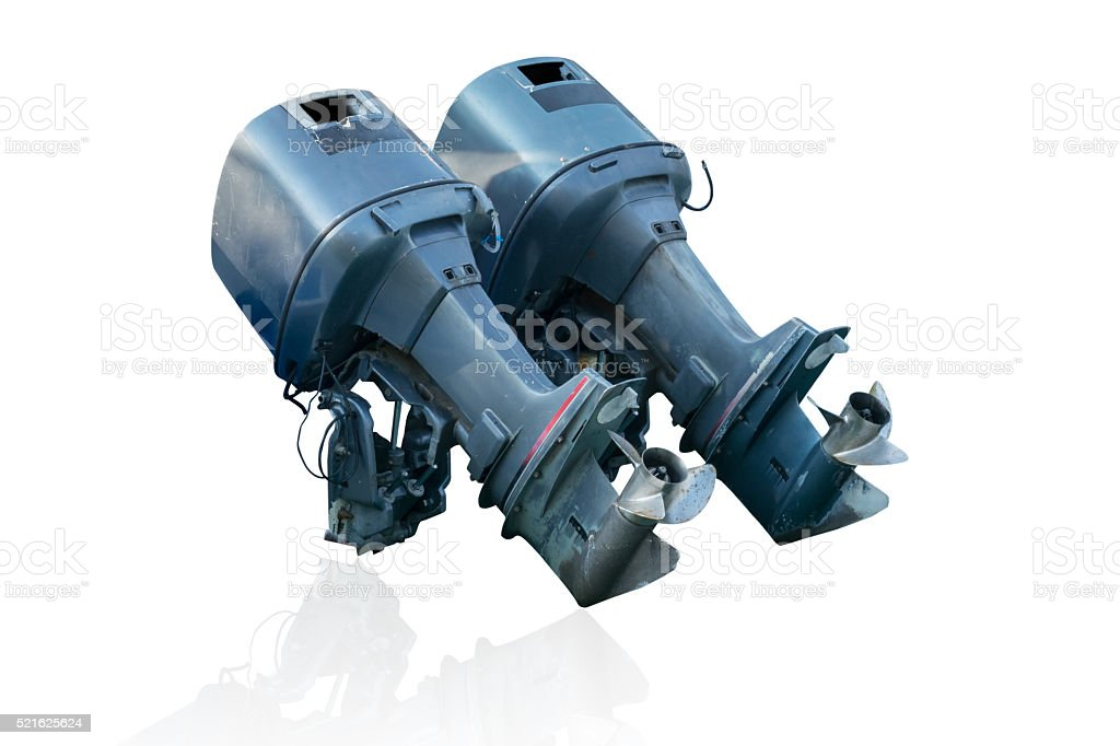 old speed boat engine isolate stock photo