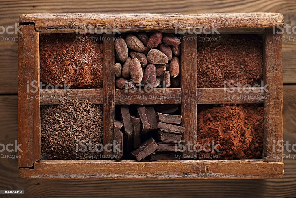 old spicy box full of chocolate stock photo