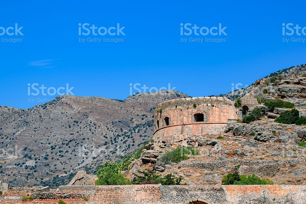 Old Spinalonga Island Fortress, Crete stock photo