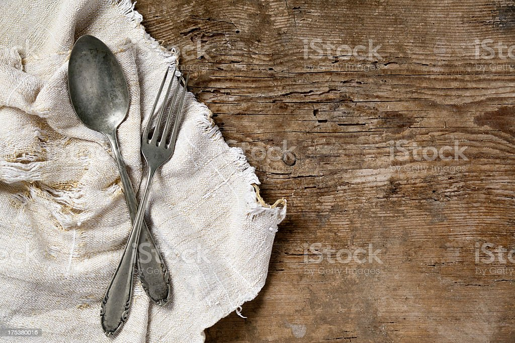 Old spoon and fork royalty-free stock photo