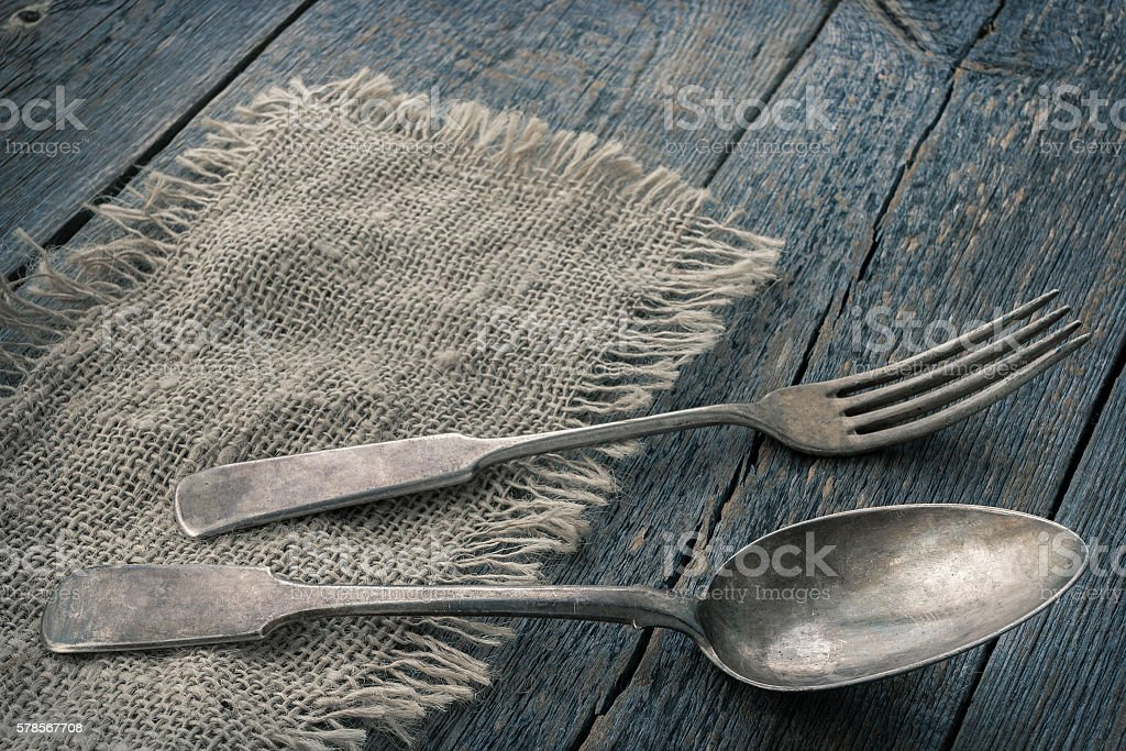 Old spoon and fork stock photo