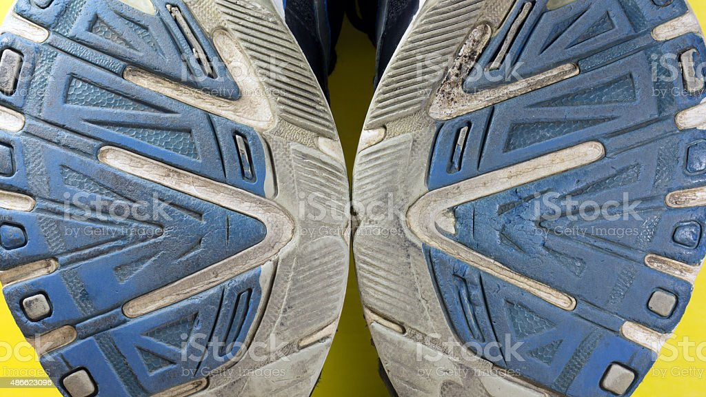 old sports shoe soles stock photo