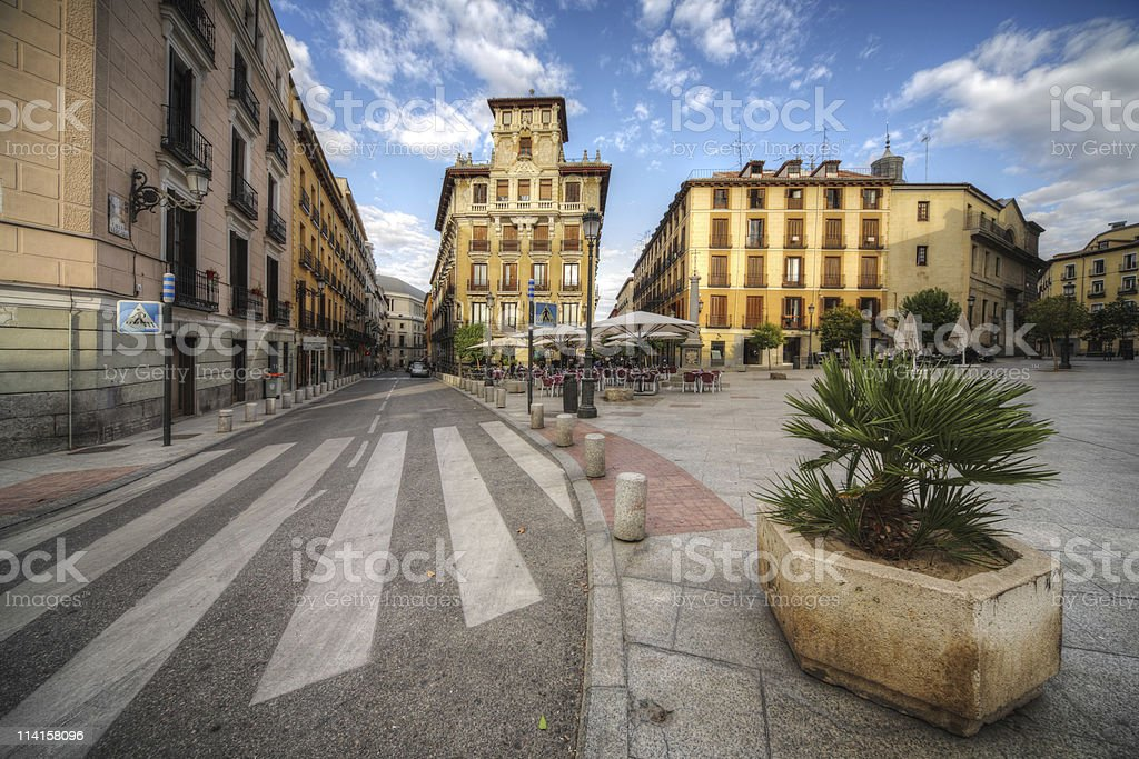 old square in the Madrid city, Spain stock photo
