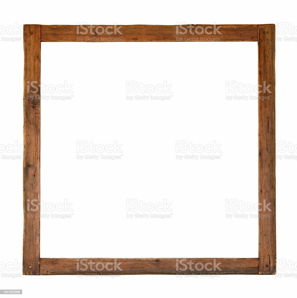 Old square wooden frame cutout stock photo