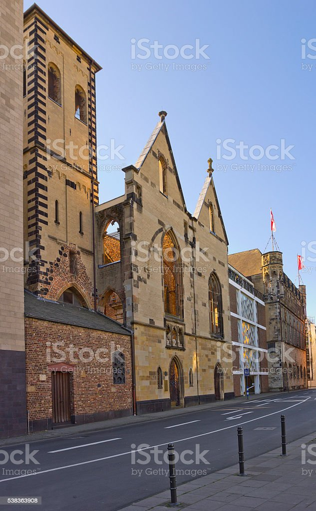 Old St. Alban church in Cologne, Germany stock photo