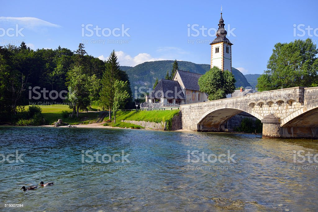 Old St. John church at Bohinj lake, Slovenia stock photo