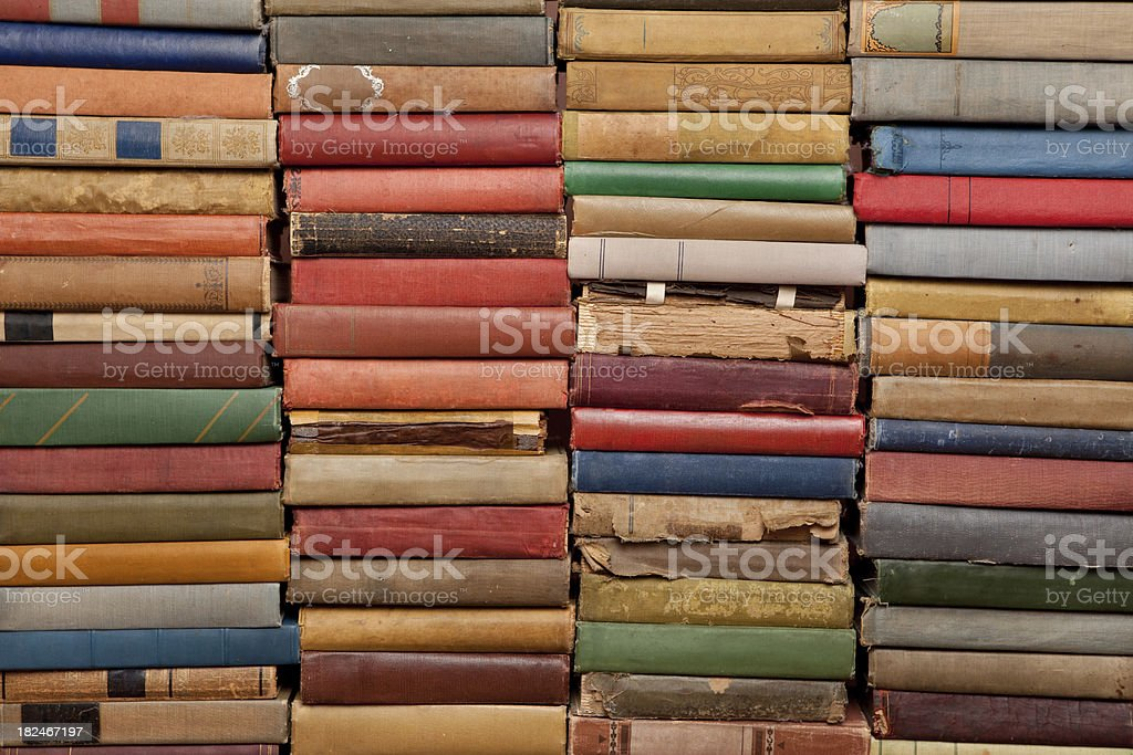 Old Stacks of Colorful, Vintage Books (XXXL) royalty-free stock photo