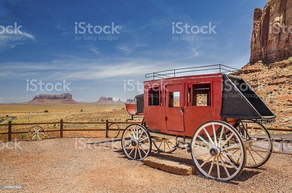 Old Stagecoach and Blue Sky stock photo