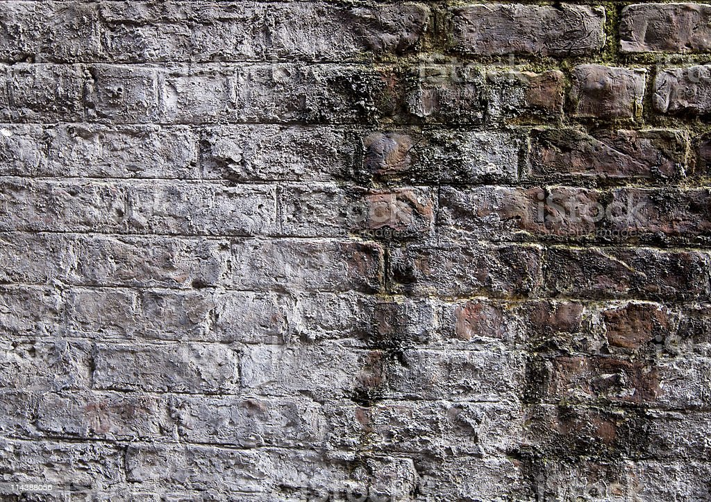 Old Stained Brick Wall royalty-free stock photo