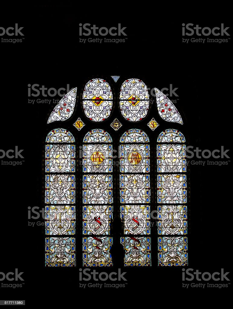 old stained glass decorated stock photo