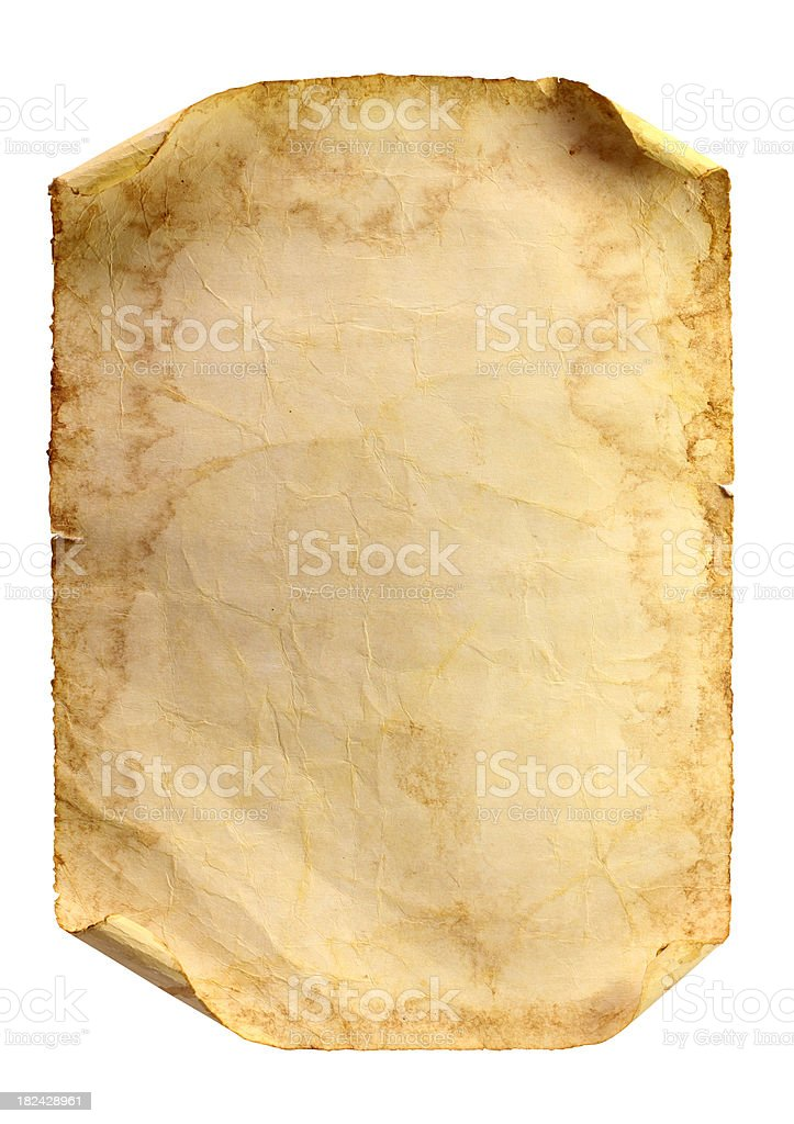 Old stained paper on a white background stock photo